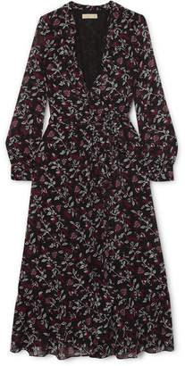 MICHAEL Michael Kors Ruffled Floral-print Chiffon Wrap Dress - Black