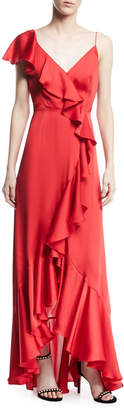 Jill Stuart V-Neck A-Line Asymmetric Ruffle Gown