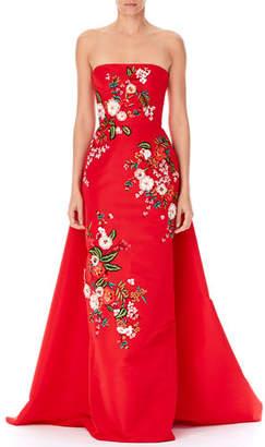 Carolina Herrera Strapless Threadwork-Embroidered Gown, Red