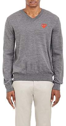 Comme des Garcons Men's Heart Wool V-Neck Sweater - Gray