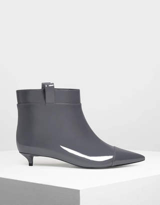 Charles & Keith Pointed Kitten Heel Boots