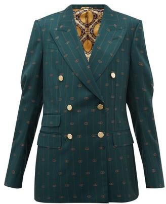Gucci Gg Pinstripe Double Breasted Wool Twill Blazer - Womens - Green Multi