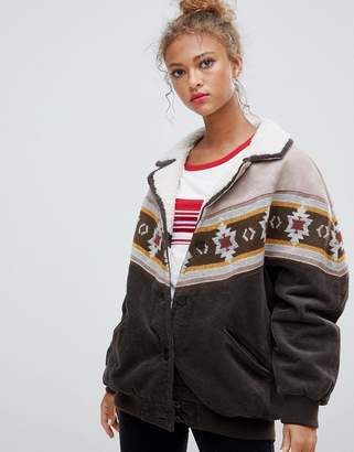 Pull&Bear cord and borg mix jacket with pattern