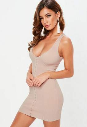Missguided Pink Hook and Eye Sleeveless Knit Mini Dress