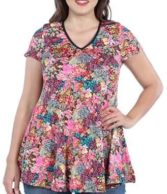 24/7 Comfort Apparel 24Seven Comfort Apparel Coco Pink Multicolor Plus Size Tunic Top