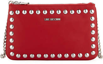 Love Moschino Studded Faux-Leather Wallet On A Chain, Red