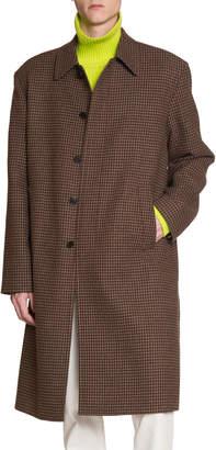 Balenciaga Men's Wool Houndstooth Soft-Shoulder Car Coat