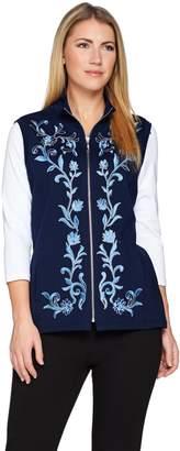 Bob Mackie Bob Mackie's Floral Embroidered Zip Front Ponte Knit Vest