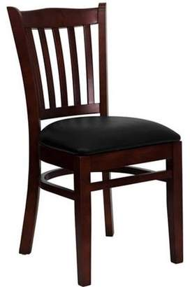 Generic Flash Furniture Slat Back Chairs - Set of 2, Mahogany / Black Vinyl Seat