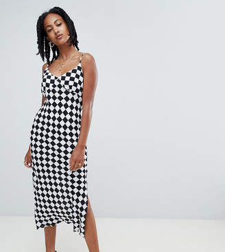 Reclaimed Vintage inspired bias cut midi dress in check print