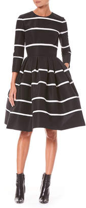 Carolina Herrera Three-Quarter Sleeve Fit-and-Flare Striped Cocktail Dress