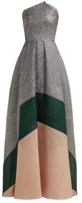 Roland Mouret Lucia Panelled Metallic Cloque Gown - Womens - Metallic