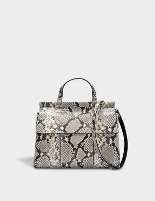 Tory Burch Block T Snake Embossed Satchel Bag in Natural Snake Calfskin