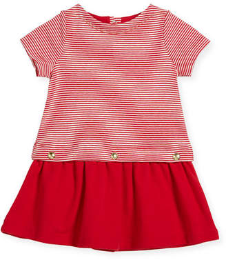 Petit Bateau Short-Sleeve Striped Dress w/ Golden Buttons, Size 3-36 Months