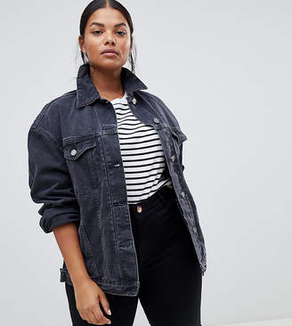 Asos DESIGN Curve denim girlfriend jacket in washed black