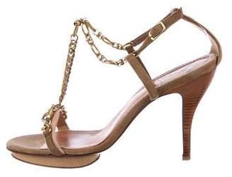 Lanvin Chain-Link T-Strap Sandals