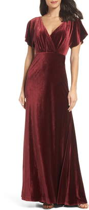 Jenny Yoo Ellis Flutter Sleeve Stretch Velvet Gown
