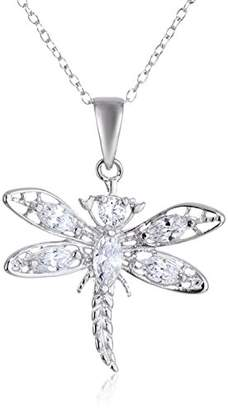 Sterling Cubic Zirconia Dragonfly Pendant Necklace