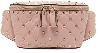 Valentino Rockstud Spike Quilted Leather Belt Bag - Womens - Light Pink