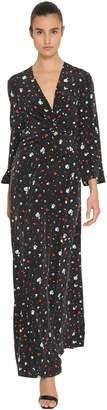 Ganni Flower Print Washed Silk Maxi Dress