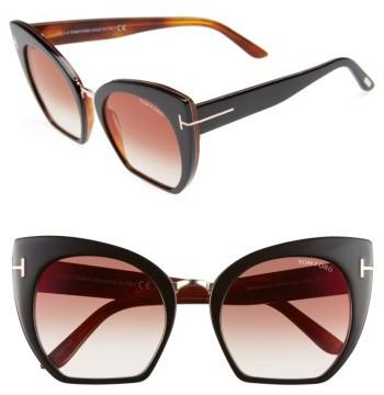 Women's Tom Ford Samantha 55Mm Sunglasses - Black/ Bordeaux Mirror