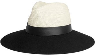 Lanvin - Leather-trimmed Straw And Rabbit-felt Fedora - Black $995 thestylecure.com