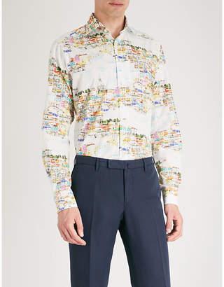 Eton Lisbon skyline-print contemporary-fit cotton-poplin shirt