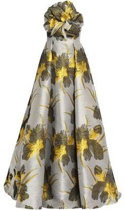 Badgley Mischka Strapless Appliquéd Floral-Print Cotton-Blend Jacquard Gown
