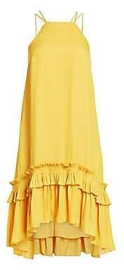 Halston Women's Sleeveless Halter Pleat-Hem Dress