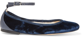 c388cc7e33d6 Sam Edelman Fynn Suede And Leather-trimmed Velvet Ballet Flats - Midnight  blue