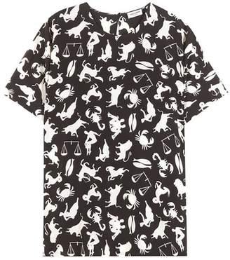 Saint Laurent Printed cut-out shoulder blouse