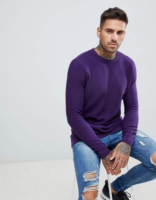 Pull&Bear crew neck sweater in purple