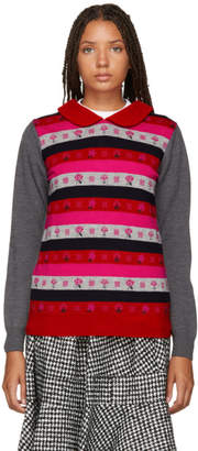 Comme des Garcons Grey and Multicolor Jacquard Sweater