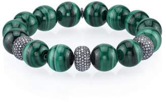 Sheryl Lowe 12mm Malachite Bead Bracelet with 3 Diamond Donuts