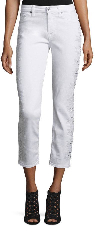 7 For All Mankind 7 For All Mankind Kimmie Embroidered-Outseam Cropped Jeans, White