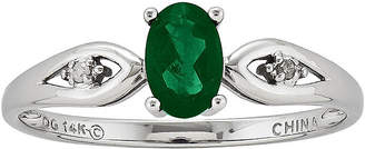 FINE JEWELRY Genuine Emerald and Diamond-Accent 14K White Gold Ring
