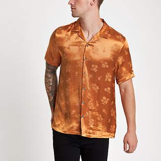 River Island Mens Orange jacquard floral revere shirt