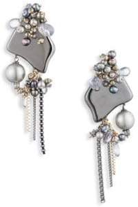 Alexis Bittar Vanitas Peacock Faux Pearl Cluster Clip-On Earrings