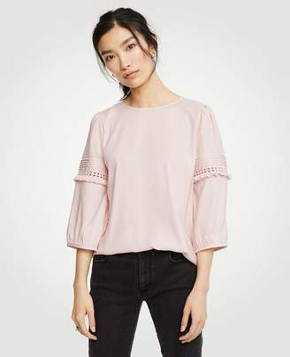 Ann Taylor Lace Inset Ruffle Sleeve Top