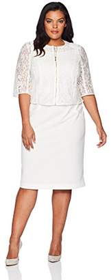 Maya Brooke Women's Plus Size Lace Zipper Front Jacket Dress