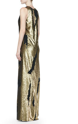 Robert Rodriguez Distressed Sequined Silk Gown