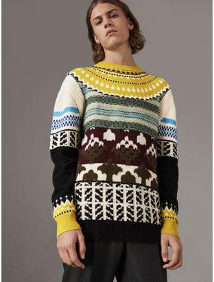 Burberry Fair Isle Multi-knit Cashmere Wool Sweater