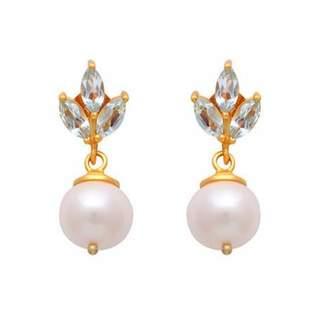Carousel Jewels - Blue Topaz & Pearl Drop Earrings