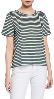 Eileen Fisher Jersey Stripe Short-Sleeve Organic Linen Tee