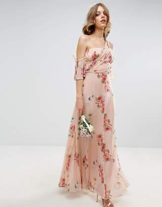 ASOS WEDDING One Shoulder Maxi Dress in Summer Rose Bouquet Print $121 thestylecure.com