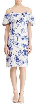 Ralph Lauren Cold-Shoulder Floral Crepe Dress