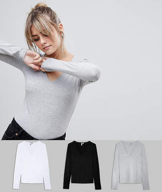 Asos DESIGN ultimate top with long sleeve and v-neck 3 pack SAVE