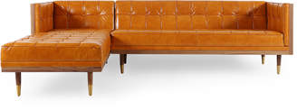 Mid-Century MODERN 808 Home Woodrow Leather Left Sectional Box Sofa