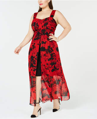 Connected Plus Size Chiffon High-Low Maxi Dress
