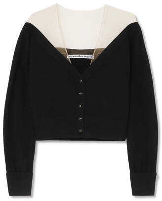 Alexander Wang Cropped Mesh-trimmed Knitted Cardigan - Black